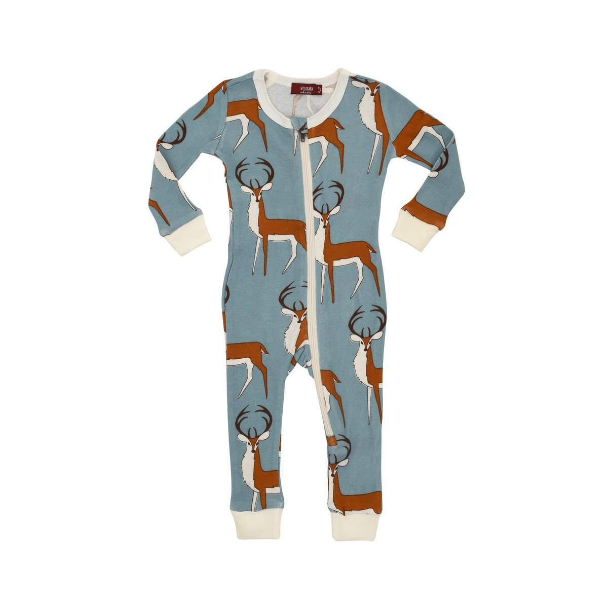 ecaa2e8da Amazon.com  MilkBarn Organic Cotton Zipper Pajama - Blue Buck  Clothing