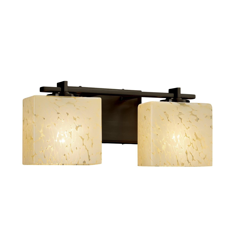 Era 2-Light Bath Bar Fusion Rectangle Artisan Glass Shade in Droplet Polished Chrome Finish
