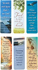 """Set of 6 Scenic Nature Inspirational Magnetic Bible Verse Bookmark with Scripture, Size Small 2.25"""" x .75"""""""