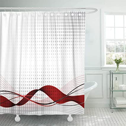 Emvency Shower Curtain Gray Curve Red Wave Abstract Black Corporate Technology Pattern Curtains Sets Hooks