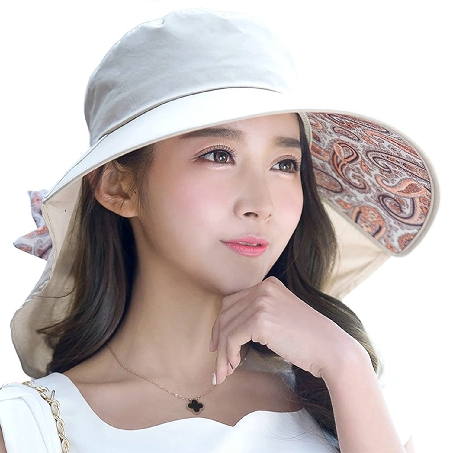 Wonderful Summer Hats For Women Part - 2: Siggi Womens Wide Brim Summer Sun Flap Cap Hat Neck Cover Cord Cotton UPF  50+ Khaki At Amazon Womenu0027s Clothing Store:
