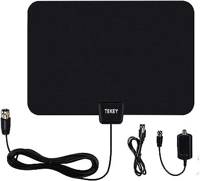 Antena de TV Digital Tekey HDTV Antenas para TV Digital Interior de 50 Millas con Amplificador de señal Desmontable, Fuente de alimentación USB y ...