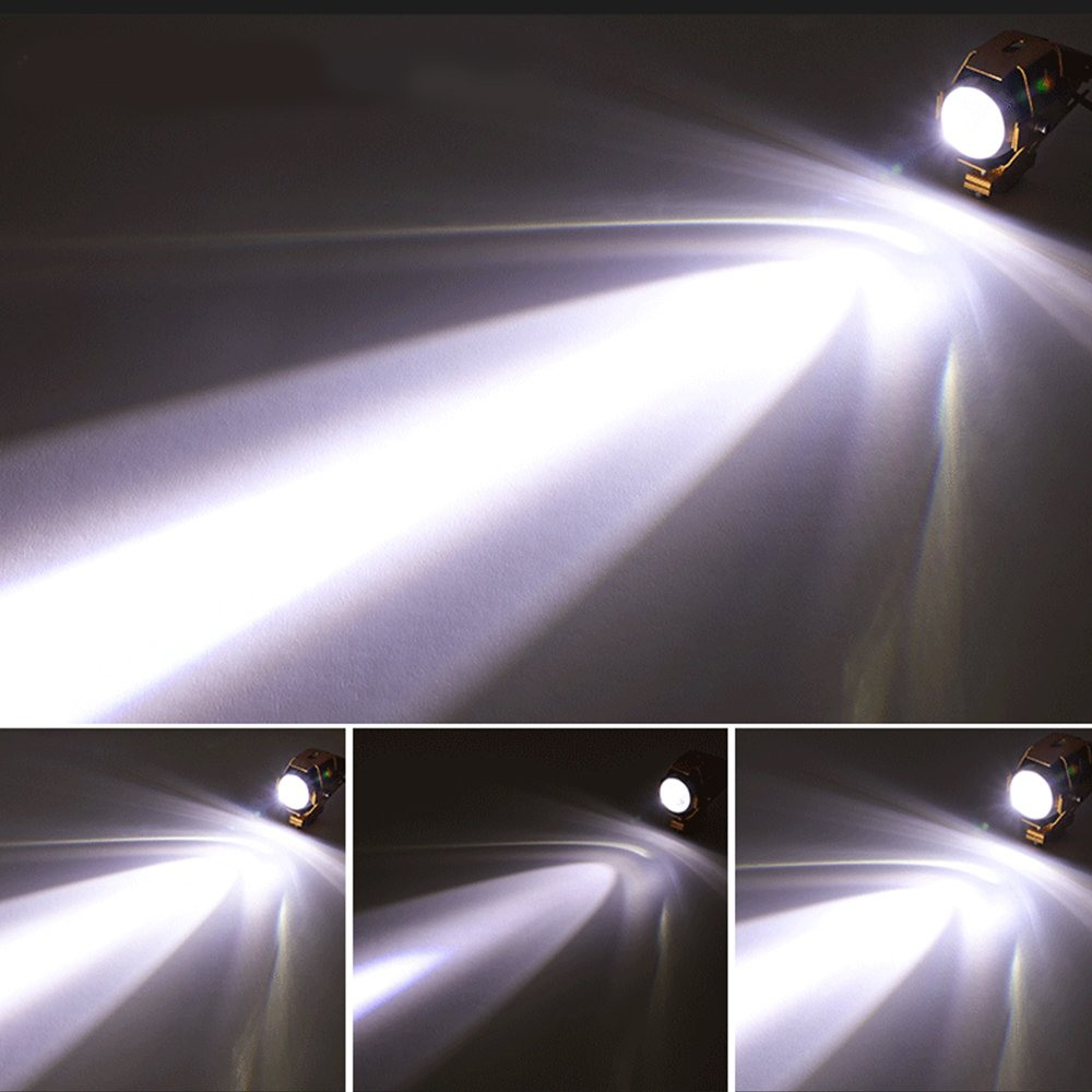 2 St/ück Motorrad Scheinwerfer U5 3000LM Motorrad Frontscheinwerfer 3 Modi von Fernlicht Abblendlicht Und Blinkt
