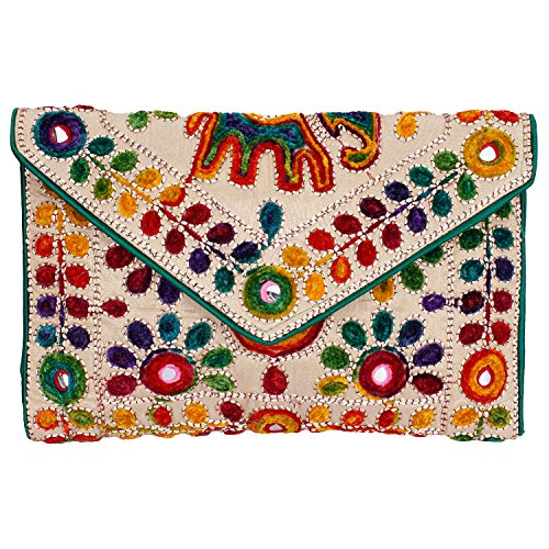 Rajasthani Jaipuri Art Sling Bag Foldover Clutch Purse (Green with Golden front)