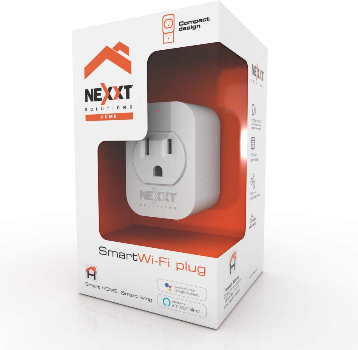 Nexxt Smart Plug Home WIFI Outlet Compatible with Google and Alexa-Voice control-Programmable schedule