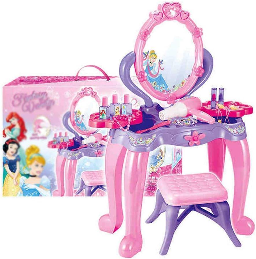 ドレッサーおもちゃ 子供のパズル女の子誕生日ギフトプリンセスメイクドレッサー玩具ヘアドライヤーセット 女の子への素晴らしい贈り物 (Color : Pink, Size : 58x12x38cm)