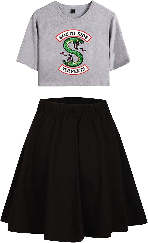 URMOSTIN Riverdale Ch/ándales de Verano South Side Serpents Conjunto de Dos Piezas Crop Camiseta de Manga Corta y Pantal/ón Cortos Traje de Ropa Deportiva Casual para Ni/ñas y Mujers