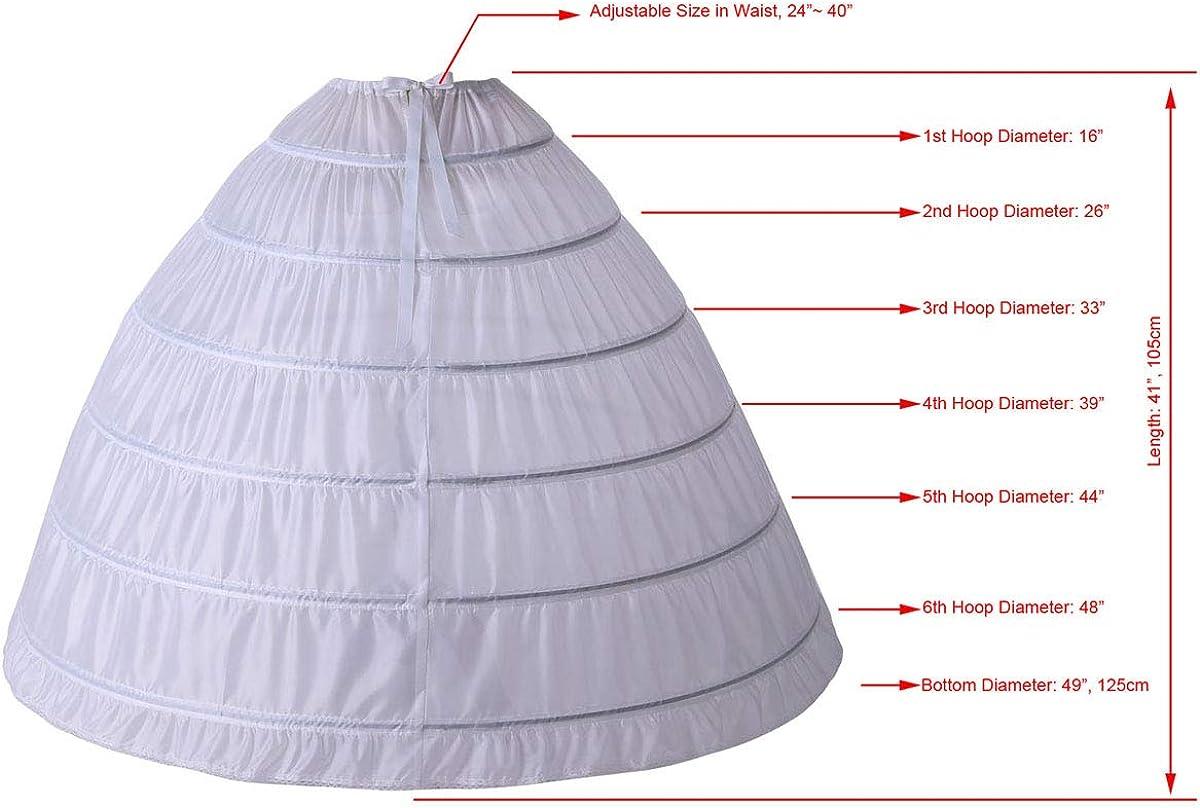 CEZOM Women 6 Hoops Long Floor Length Petticoats Crinoline Skirt Underwear Slip for Bridal Wedding Dress MPT150