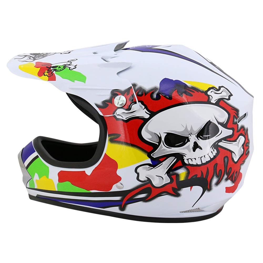 Brille} Kinder Motorradhelm Full Face MX Helmet M/ädchen Jungen Dirt Bike + Handschuhe XL-8cm 55cm Leopard LEO-X17 {Orange Kinder Motorrad Helm XL
