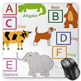 BGLKCS Educational Mouse Pad by, Alphabet Letters with Cute Zoo Animals Kids Fun Preschool Teaching Collection, Standard Size Rectangle Non-Slip Rubber Mousepad, Multicolor