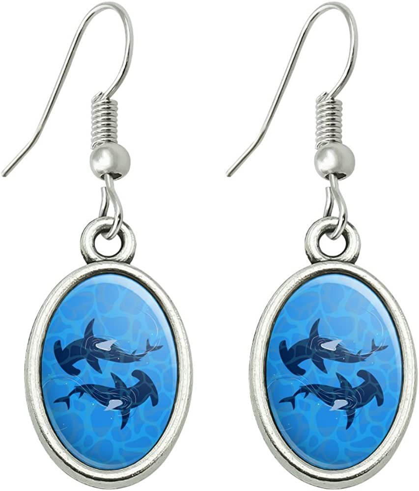 GRAPHICS & MORE Hammerhead Sharks Swimming in The Ocean Novelty Dangling Drop Oval Charm Earrings