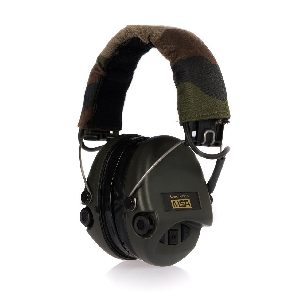MSA Sordin Supreme Pro X - Premium Edition - Electronic Earmuff with camo-band, green cups and gel seals fitted by MSA/Sordin