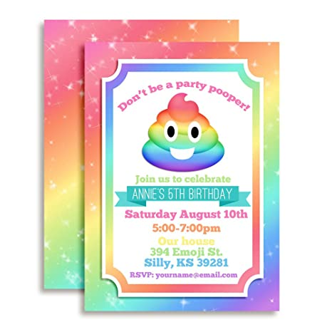 Image Unavailable Not Available For Color Rainbow Poop Emoji Custom Personalized Birthday Party