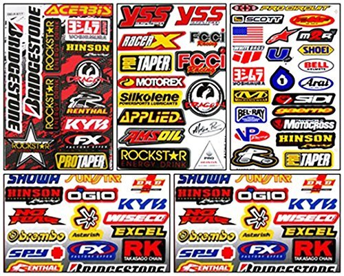 Set of 5 Motocross Dirt Bike Helmet Decal Kit Sticker Sheets (Suzuki Stickers)