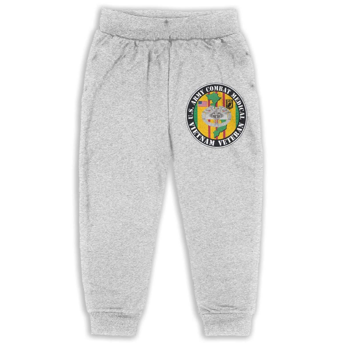 Army Combat Medical Vietnam Veteran Sweatpants for Boys /& Girls Fleece Active Joggers Elastic Pants DaXi1 U.S