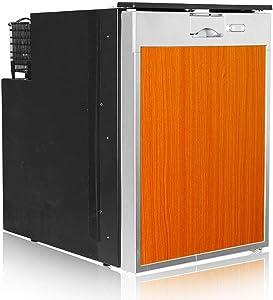 LQUIDE 40L Car Refrigerator, Mini Fridge. Retro, Wood Grain, RV Essential, DC12V/24V, (453x380x537mm), Suitable for Travel and Camping