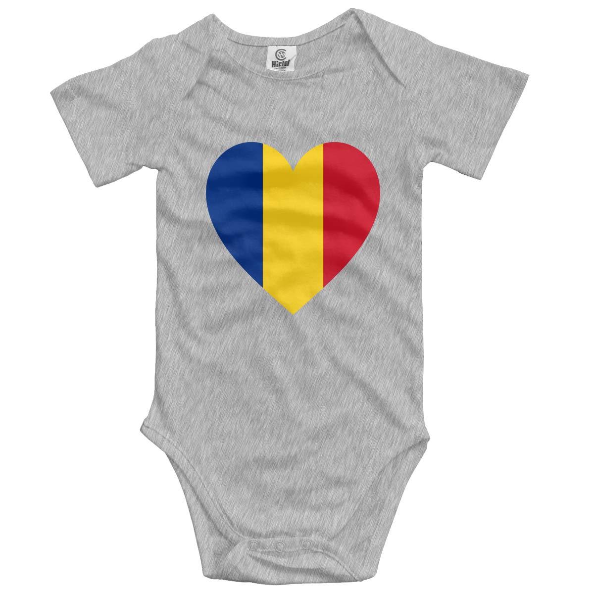 Baby Short-Sleeve Onesies Love Romania Flag Bodysuit Baby Outfits