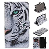 LG X Power Case,LG K6P Case,LG K210 Case,XYX [White Tiger] PU Leather Wallet Case Kickstand Cover With Built-in Slots Case for LG X Power / LG K6P / LG K210