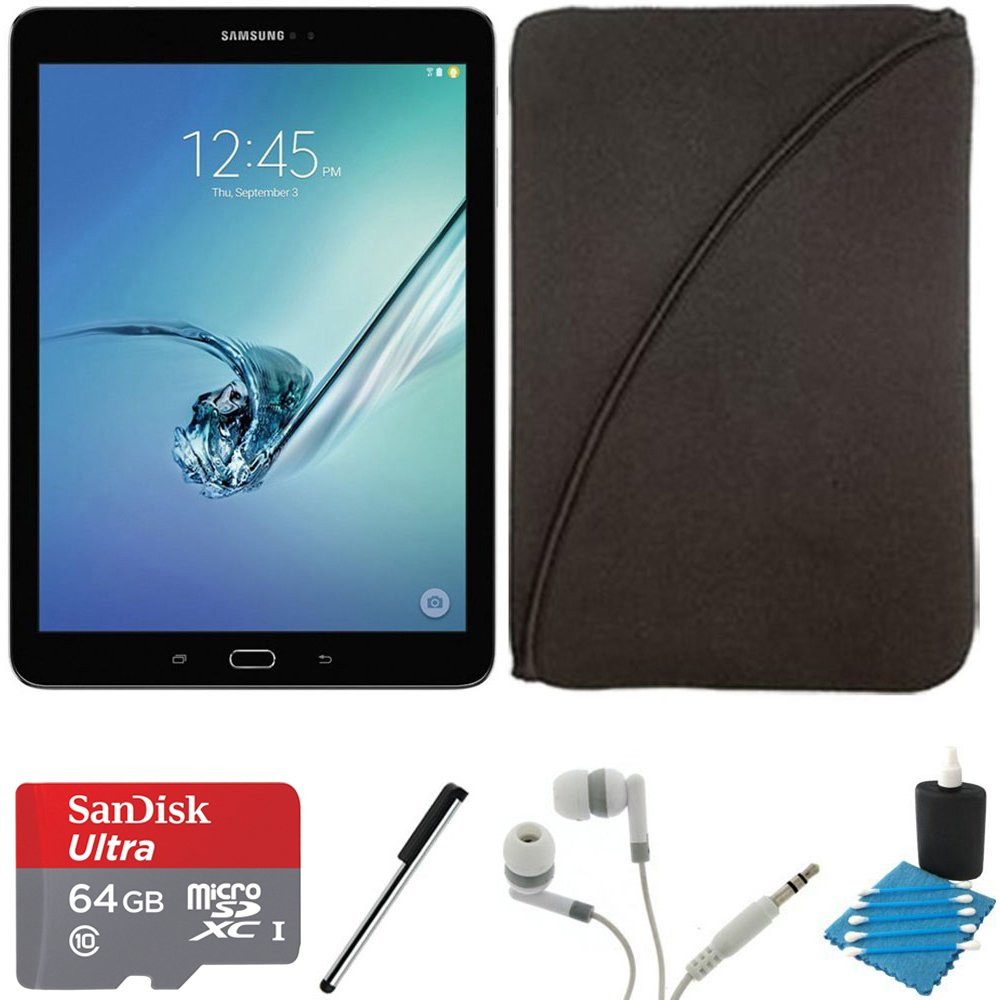 Samsung Galaxy Tab S2 9.7-inch Wi-Fi Tablet (Black/32GB) SM-T810NZKEXAR 64GB MicroSD Card Bundle includes Galaxy Tab S2, 64GB MicroSD Card, Stylus Stylus Pen, Protective Tablet Sleeve by Samsung