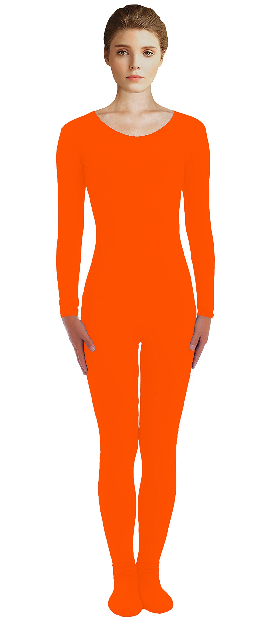 VSVO Adult Orange Scoop Neckline Unitard with Socks Catsuit Dancewear (Medium, Orange) by VSVO