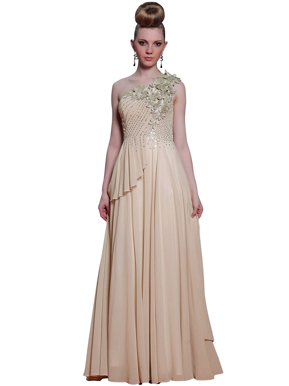 Zhiyuan Floral One Shoulder Beaded Long Chiffon Prom Dress