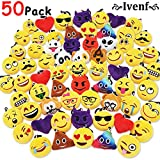 Ivenf Pack of 50 5cm/2'' Emoji Poop Plush Keychain Birthday Party Favors Supplies Mini Pillows Set, Emoticon Backpack Clips, Goodie Bag Stuffers Pinata Fillers Novelty Gifts Toys Prizes for Kids