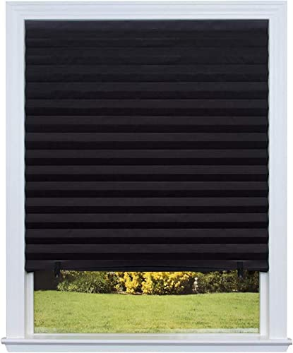 Paper Pleated Shade 36 x 72 Window Blind Blackout Light Block Cordless Black