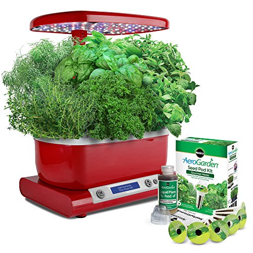 Miracle-Gro AeroGarden Harvest (LCD Control Panel) with Gourmet Herb Seed Pod Kit, Red