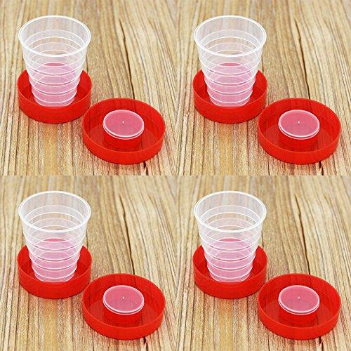 5PCS Portable Folding Cup Telescopic Plastic Collapsible Travel Cup Random Color
