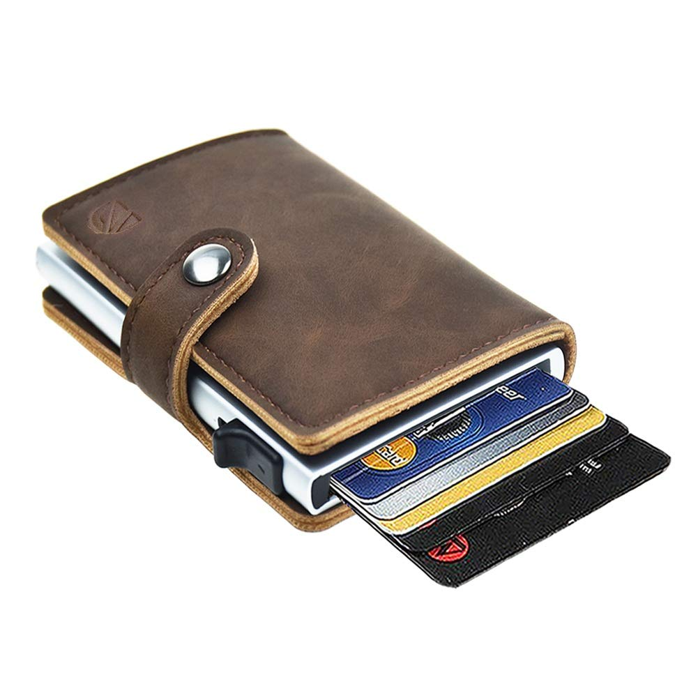 Dlife Credit Card Holder RFID Blocking Wallet Slim Wallet PU Leather Vintage Aluminum Business Card Holder Automatic Side Slide Trigger Card Case Wallet Security Travel Wallet (Dark Brown)