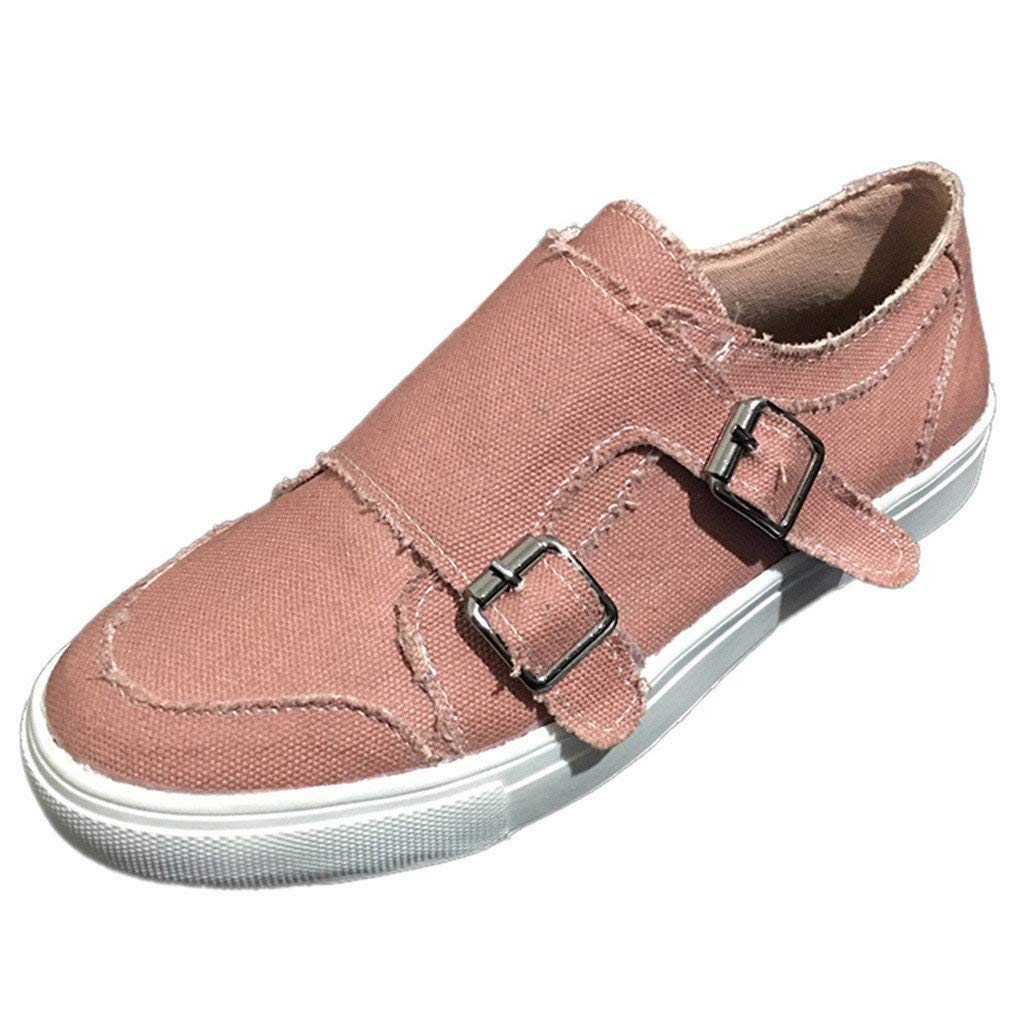 SSYUNO Canvas Shoes for Women Summer Loafers Comfort Slip On Sneakers Flat Low Top Walking Jogging Sport Leisure Shoes Pink