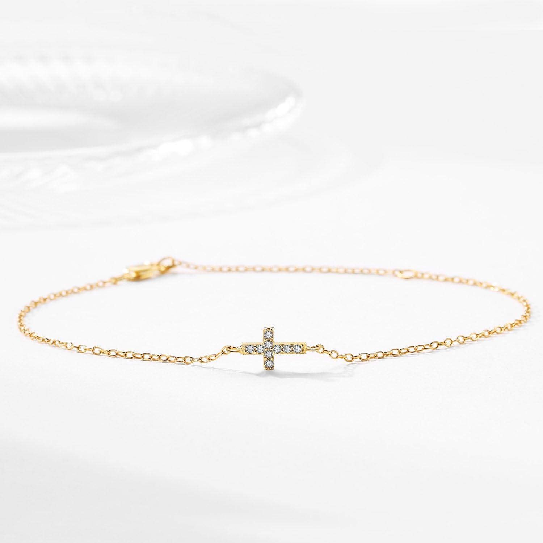 7+2 Religious Gifts for Girls Gold Plated Sterling Silver Cross Bracelet for Women