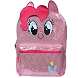 Little Pony Pinkie Backpack for Girls 16' Large Glittery Pink