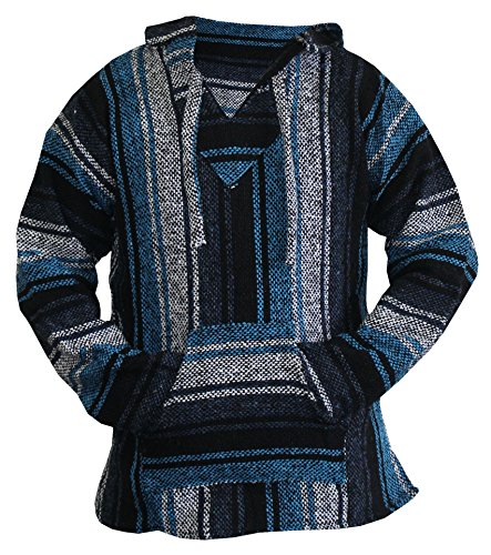 (Mexican Baja Hoodie Sweater Jerga Pullover Blue Gray Unisex (Large))