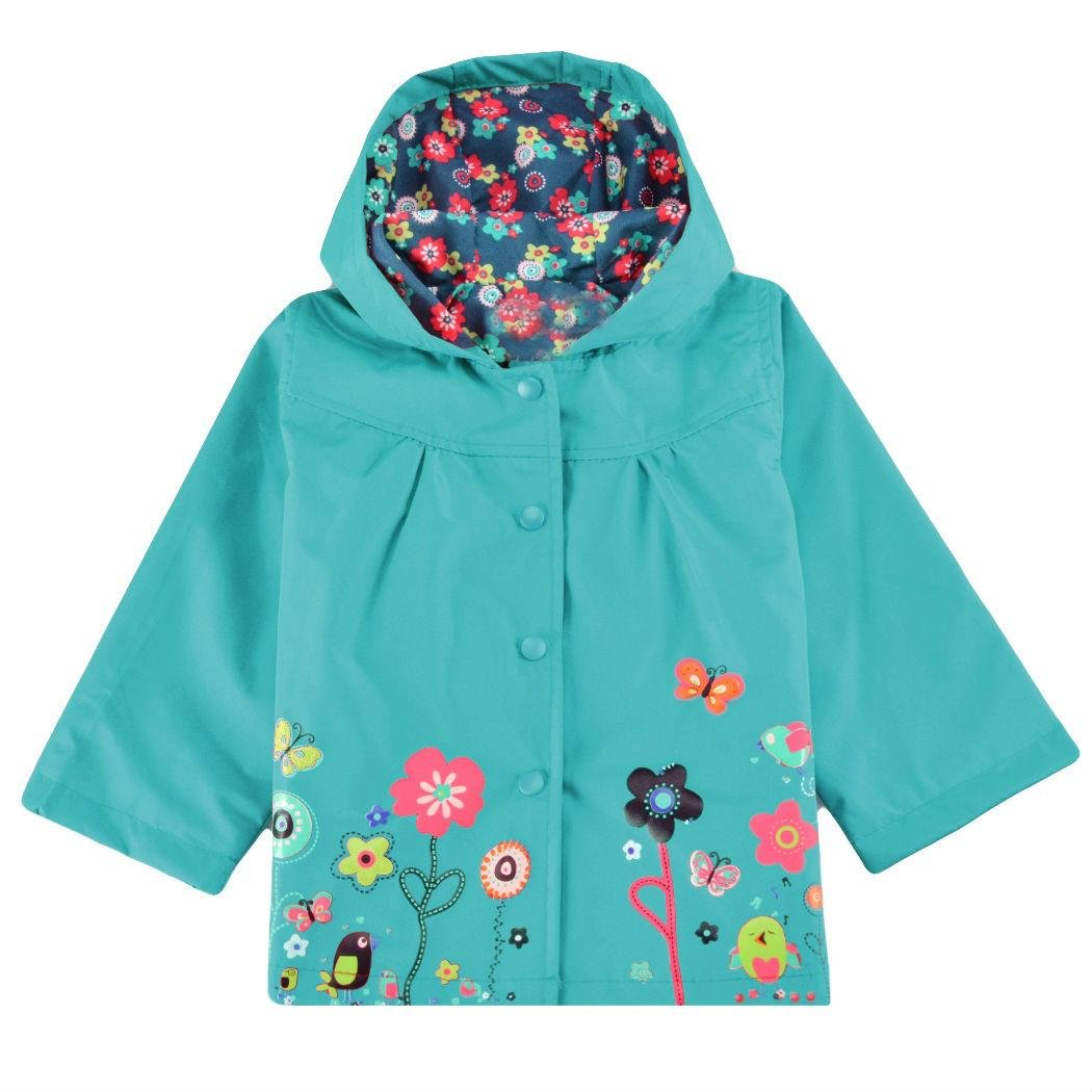 Fanala Blue Cute Baby Girls Windproof Rain Jacket Kids Outwear Hoodies