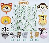36 Pcs Jungle Animals Party Swirl Decorations, 30pcs Hanging Swirl and 6pcs Zoo Animals Balloons for Woodland Party Suppiles and Animal Theme Birthday Party Decorations