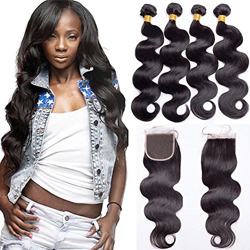 Maxine Brazilian Hair With Closure 9A Grade 4 Bundles Body Wave Virgin Human Hair Bundles With 4x4 Lace Closure 100% Unprocessed Hair Extensions Natural Black Color (22 24 26 28 + 18, Free Part)