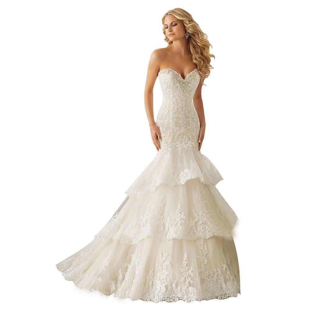 Aurora Bridal Luxury Lace Sweetheart Wedding Dress Beading Mermaid