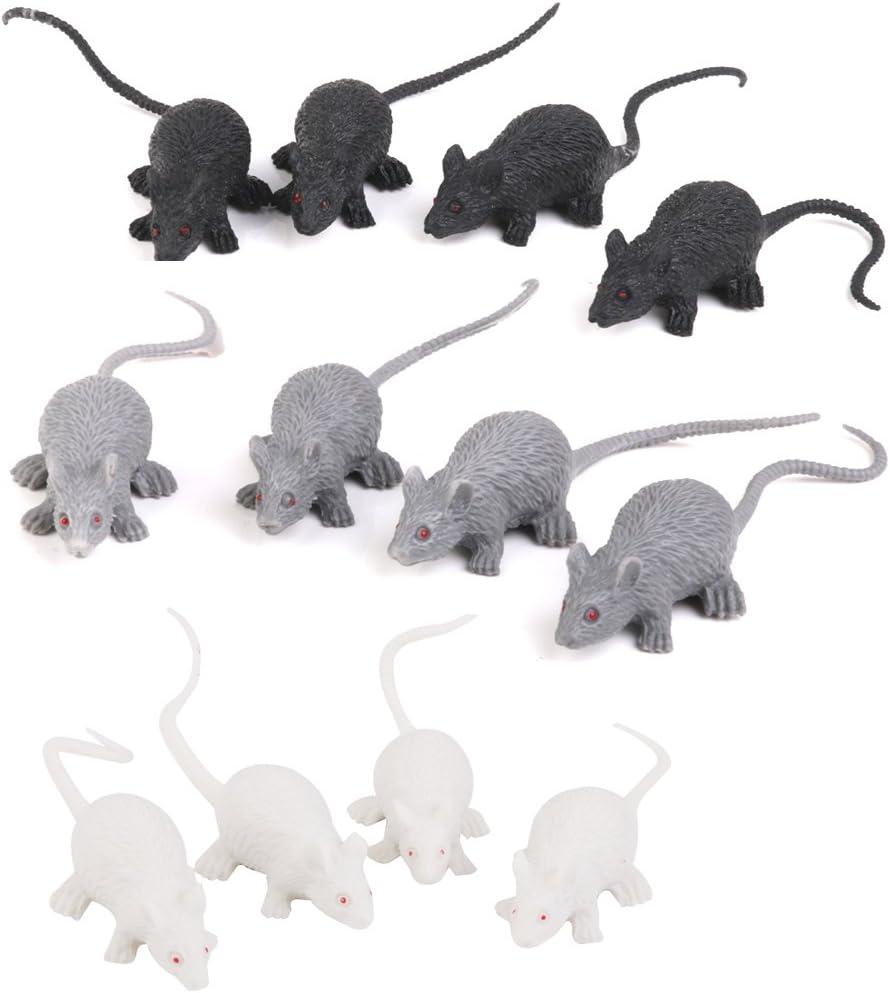 8 Plastic Mice Scary Creatures Halloween Prop Fancy Dress Accessory