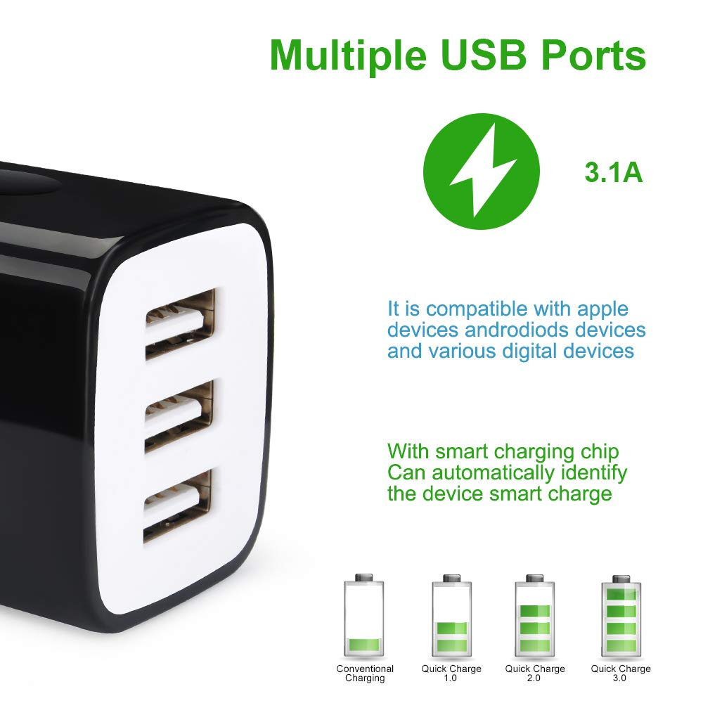 USB Wall Charger,Sicodo 3-Pack 2.1A Home Travel Dual Port Plug Wall Charging Block Compatible with iPhone 8,7 Plus,6 Plus,6s Plus,Tablet,Samsung Galaxy S8,S7 Edge,HTC,LG,Sony,Nokia,Motorola and More