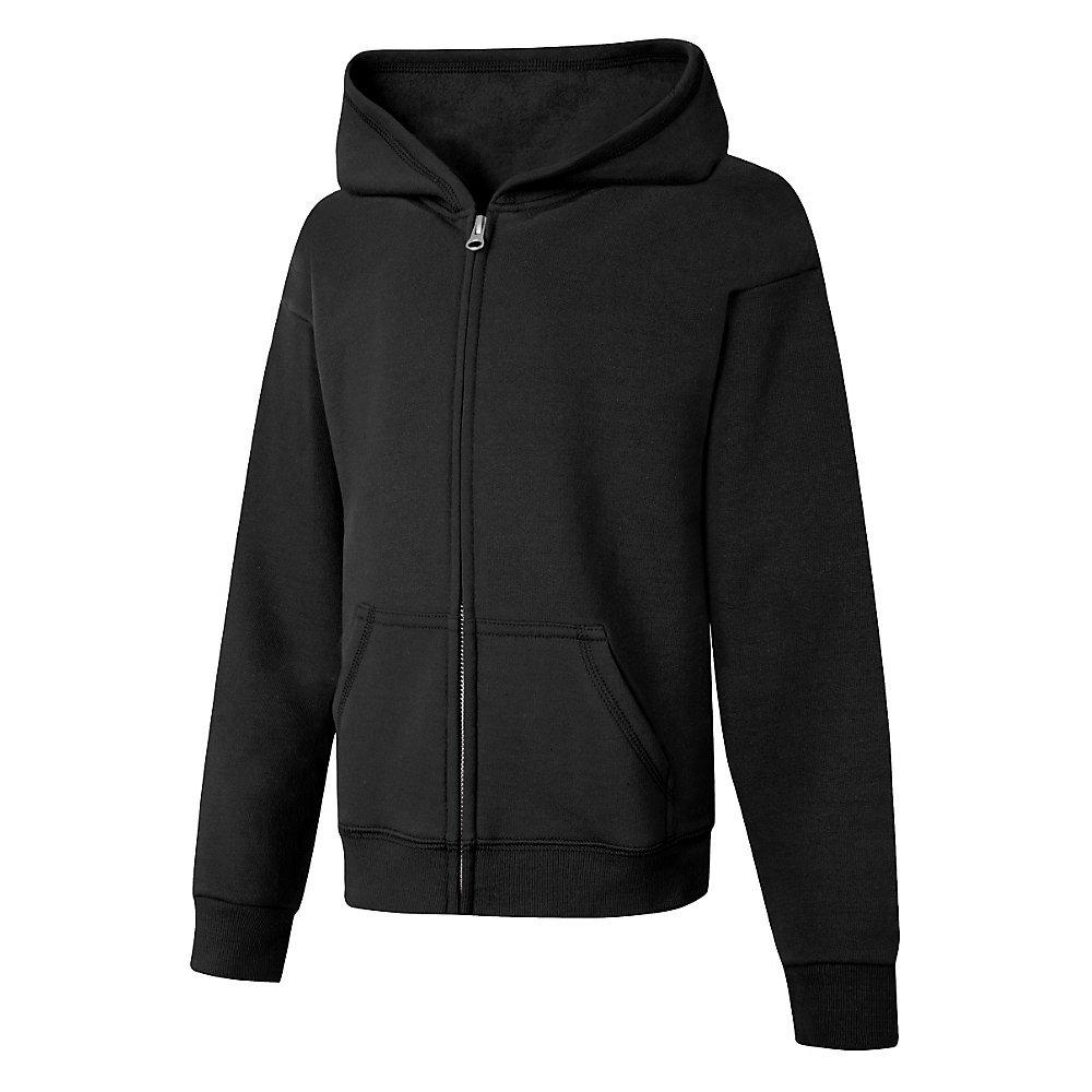 Hanes Big Girls' ComfortSoft EcoSmart Full-Zip Hoodie, Black, Large