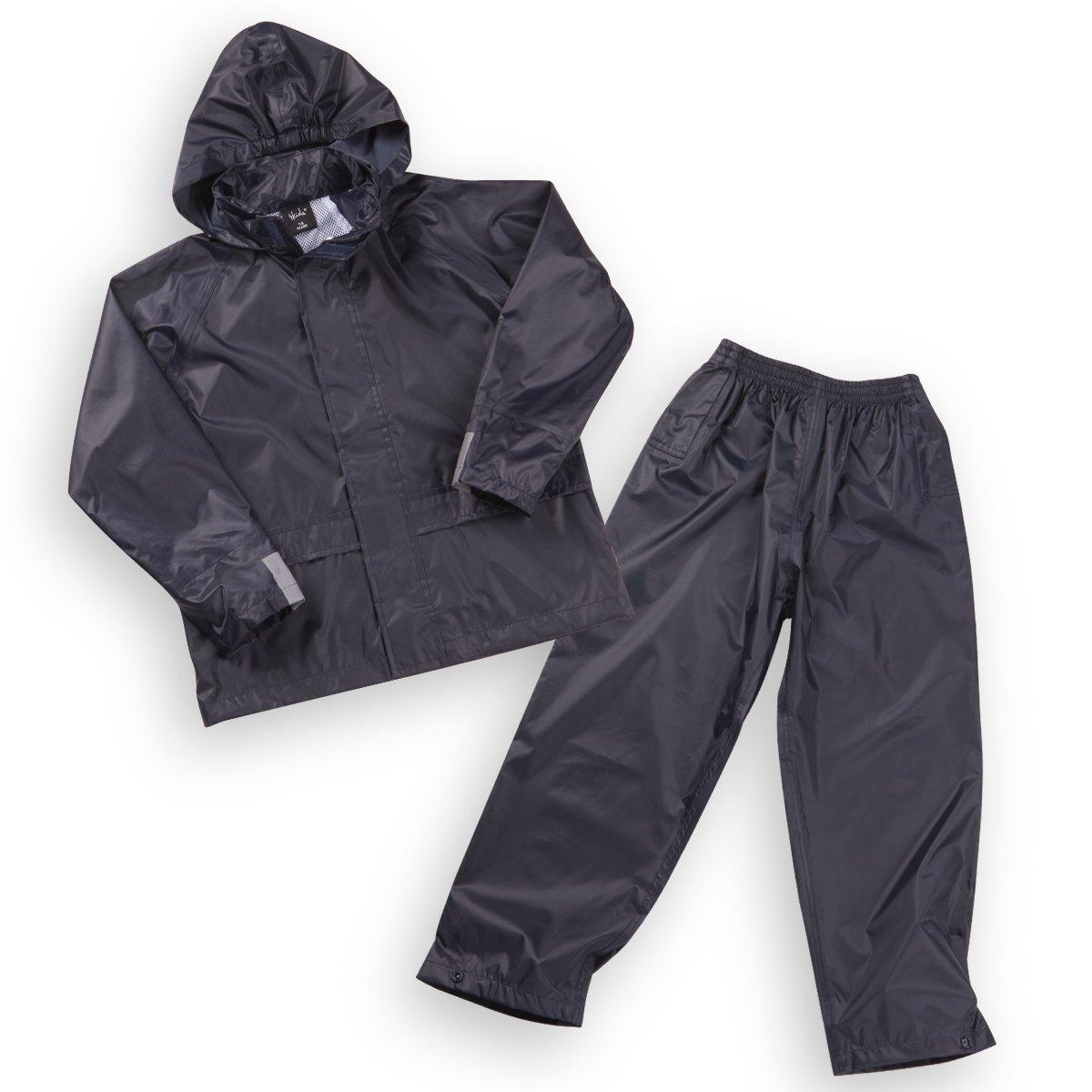 4Kidz Kids Waterproof Jacket & Pants - Children's Rain Suit Set Navy 5-6 Years