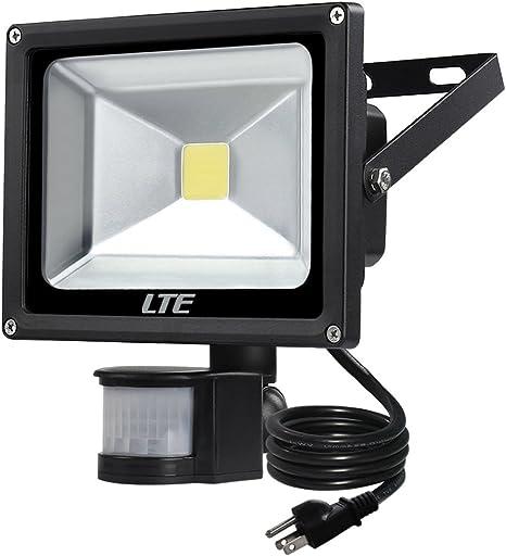 Foco Led De Sensor De Movimiento Enchufe Lte 20 W Impermeable Led Pir Sensor Luces De Seguridad 6000 K 1500 Lúmenes Us 3 Enchufes Duración De Iluminación Y Sensibilidad Ajustable Para