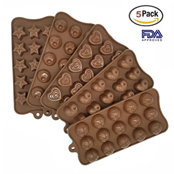 Candy moldes y silicona Chocolate moldes - Juego de 5 antiadherente sin BPA Flexible Corazones, estrellas y bola Mini cera moldes: Amazon.es: Hogar