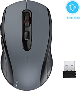 Wireless Mouse TeckNet 2.4G Silent Laptop Mouse with USB Receiver Portable Computer Mice for Notebook, PC, Laptop, Computer, 18 Month Battery Life, 3 Adjustable DPI Levels: 2000/1500/1000 DPI (Black)