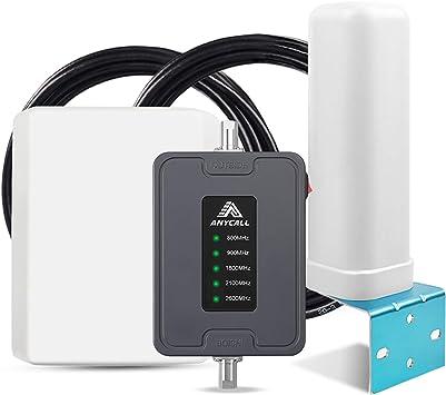 ANYCALL Amplificador Cobertura Movil 2G/3G/4G 5-Banda Repetidor Señal Movil 800/900/1800/2100/2600MHz Mejorar la Red y Llamar para Coche/Carro/RV/SUV ...