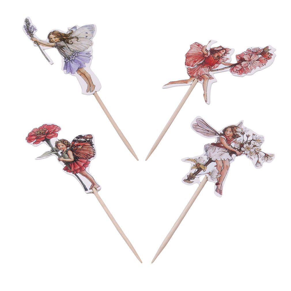 SOURBAN Cake Inserted Card Flowers Girls Cupcake Pie Cake Topper Decor for Baby Shower 24pcs