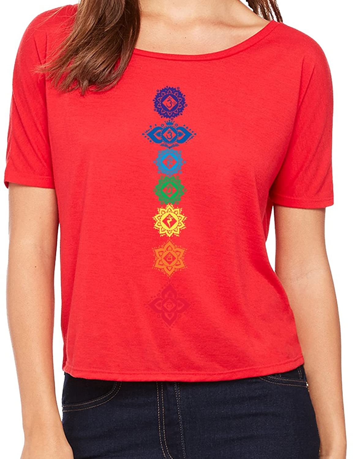 Yoga Clothing For You Ladies 7 Floral Chakras Open Back Shirt