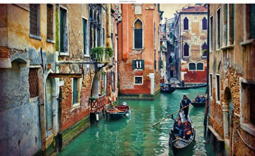 WindowPix 30x18 Inch Decorative Static Cling Window Film Gondola tour Through Venice . Printed on Clear for Window Glass panels. UV protection, Energy Saving.