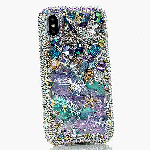 (iPhone XR Case, [Premium Handmade Quality] Real Sea Shells Bling Genuine Crystals Protective Case Cover [by Luxaddiction])